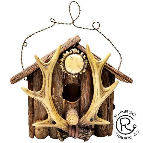 Cabin with Antler Birdhouse