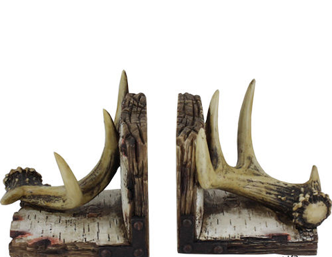 Antler and Birch Bark Bookends