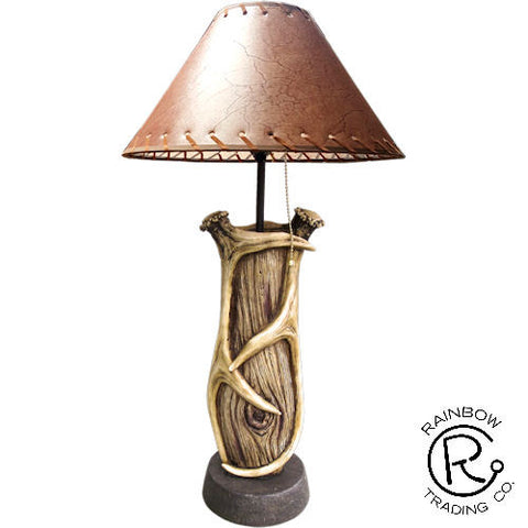 Antler Lamp With Wood Detail