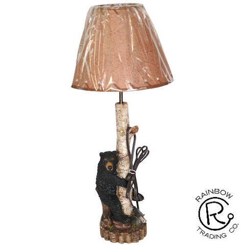 Bear With Birch Lamp And Shade - 19 1/2""