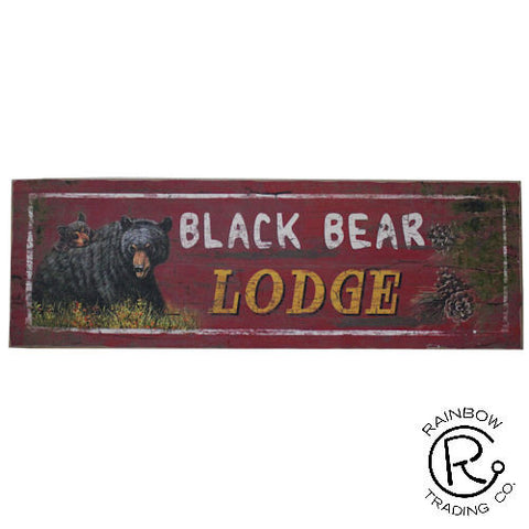 """Black Bear Lodge"" Sign - 24"""