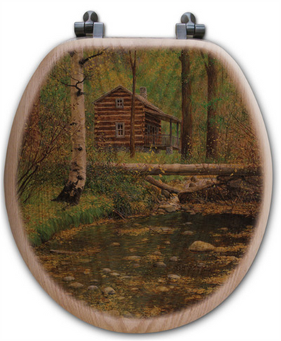 """Autumn Hideaway"" Oak Toilet Seat"