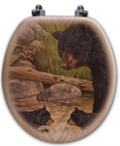 """Bear Creek Gang"" Oak Toilet Seat"