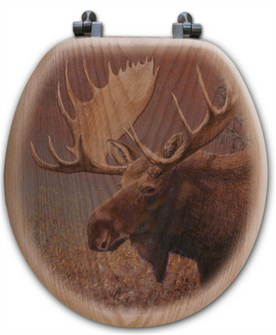 """Chocolate Moose"" Oak Toilet Seat"