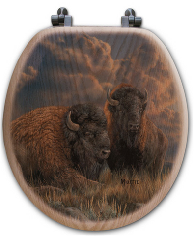 """Distant Thunder"" Bison Oak Toilet Seat"