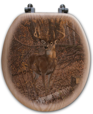 """Great Eight"" Bison Oak Toilet Seat"