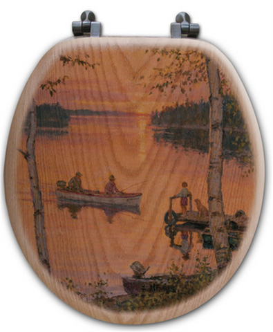 """Lakeland Sunset"" Oak Toilet Seat"