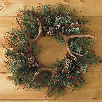 Evergreen Wreath with Antlers
