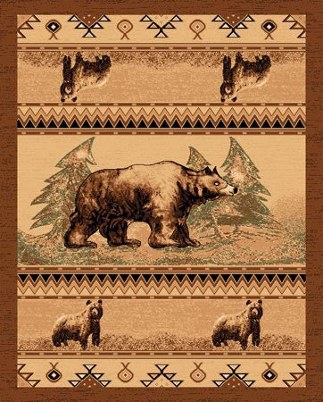 """Bear"" Rustic Northwoods Area Rug - Various Sizes"