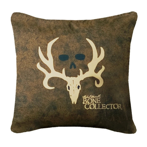"""Bone Collector"" Brown Square Decorative Pillow"