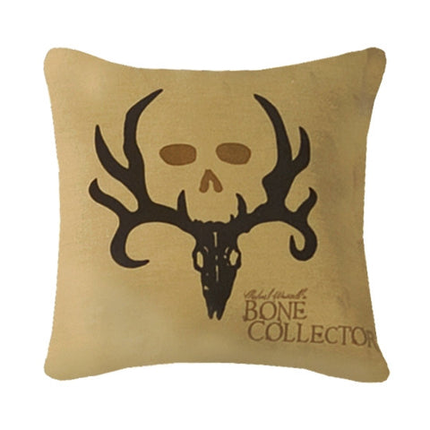 """Bone Collector"" Tan Square Decorative Pillow"