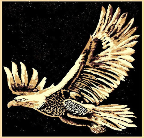 """Eagle Flight"" Rustic Northwoods Area Rug (5' 1-1/2"" x 6' 10"")"