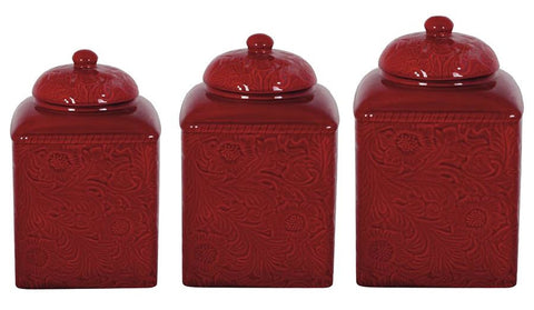 Savannah Tooled Red 3-Pc Canister Set