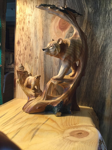 Bear Scene Wood Carved Statue