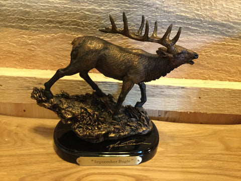 """September Bugle"" bronzed elk mini sculpture"