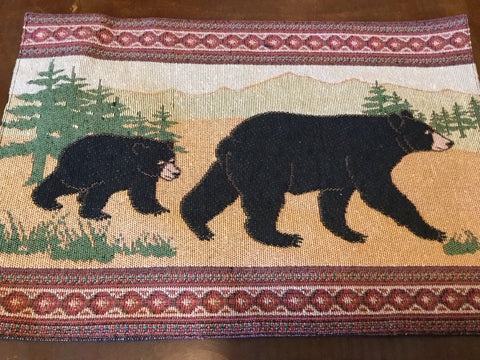 Black bear jacquard placemat