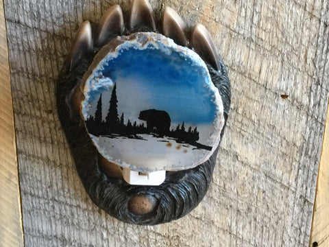 Bear agate slab nightlight