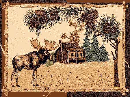 """Moose & Cabin Area Rug - Various Sizes"