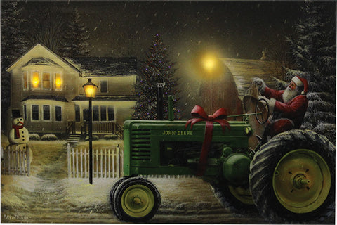 """Santa on John Deere Tractor"" LED Art - 24"" x 16"""