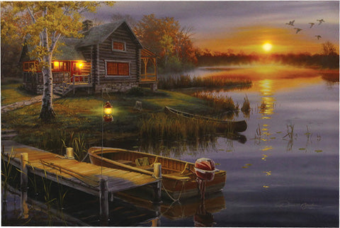 """Autumn At The Lake"" LED Art - 24"" x 16"""