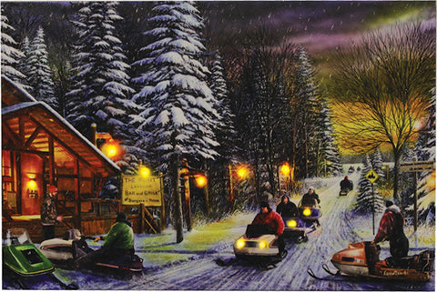 """Snowmobile Poker Run"" LED Art - 24"" x 16"""