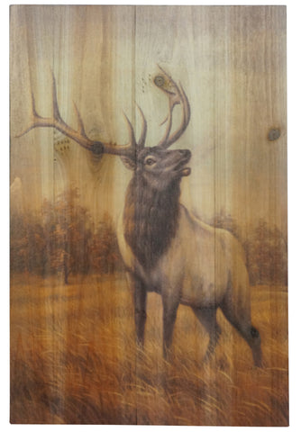 Bearded Elk Wood Plank Art