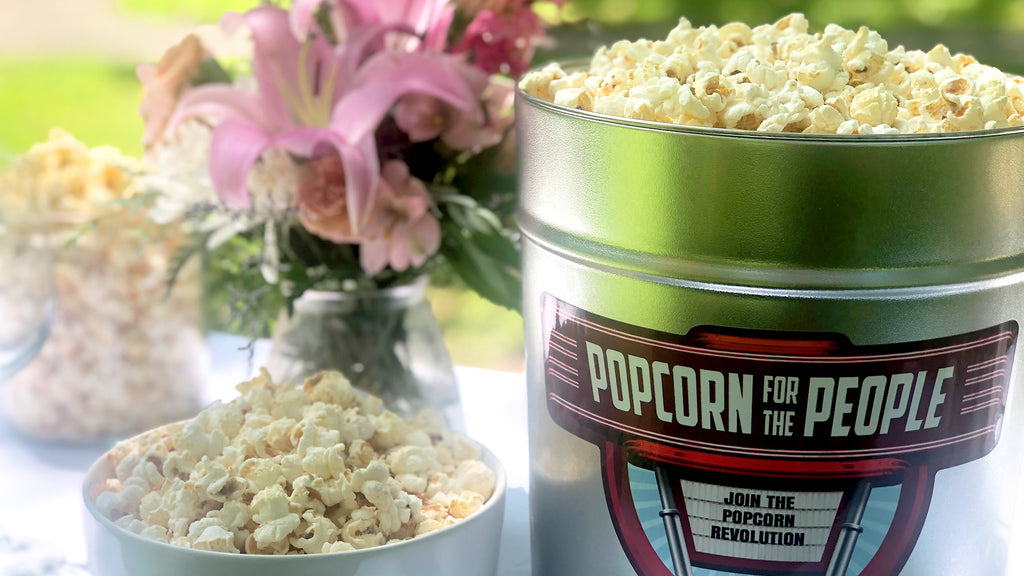 Popcorn for the People Wedding Favor Tin