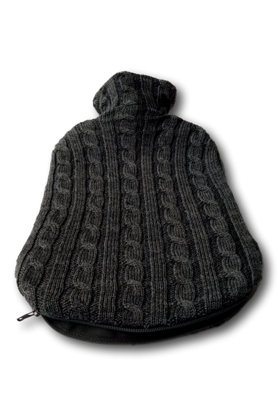 Fashy Hot Water Bottle with Luxury Merino Charcoal Wool Knitted Cover 2L