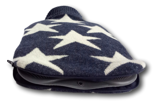 Navy and White Stars Lambswool Blend Knitted Hot Water Bottle Cover, fits standard 2L bottle