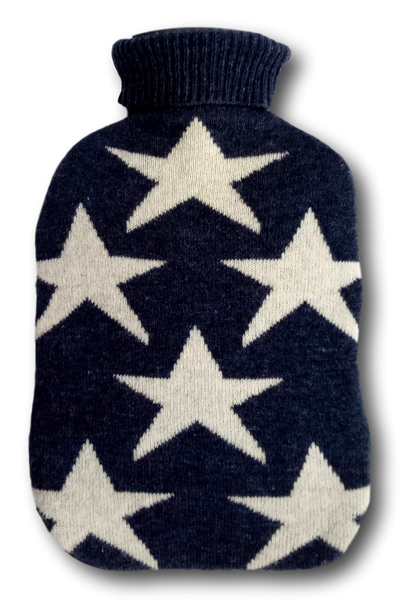 Fashy Hot Water Bottle with Navy and White Stars Lambswool Blend Knitted Cover 2L
