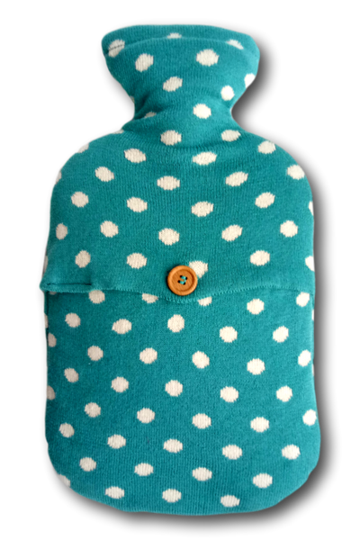 Combed Cotton Aqua Polka Dot Knit Hot Water Bottle Cover, fits standard 2L bottle