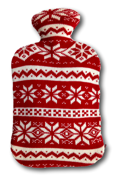 Combed Cotton Snowflake Knitted Hot Water Bottle Cover, fits standard 2L bottle