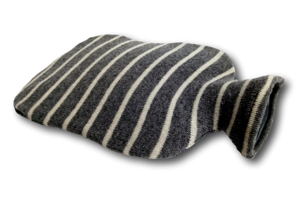 Fashy Hot Water Bottle with Grey White Striped Lambswool Blend Knitted Cover 2L