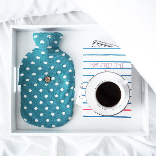 Fashy Hot Water Bottle with Polkadot Combed Cotton Knit Cover 2L