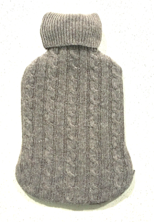Fashy Hot Water Bottle with Grey Lambswool Blend Knitted Cover 2L