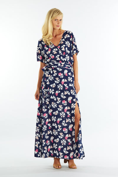 Morgan Navy Fan Wrap Maxi