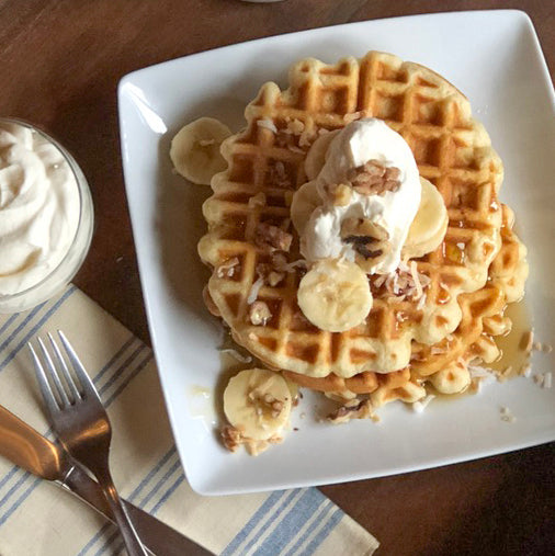 Waffles with Bourbon Maple Syrup