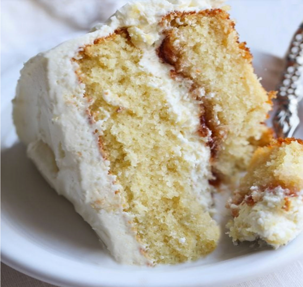 White Cake with White Chocolate Buttercream Frosting