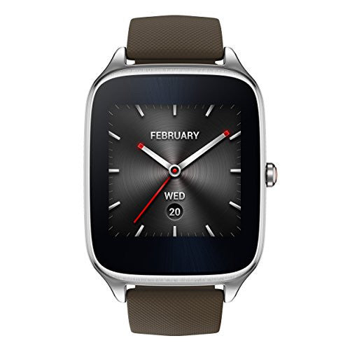 "ASUS ZenWatch 2 , WI501Q-SR-BW-Q , 1.63"" Smartwatch Silver Case, Brown Rubber Band with HyperCharge, AMOLED Gorilla Glass 3 Touchscreen, 4GB Storage, IP67 Water Resistant - qwikby"
