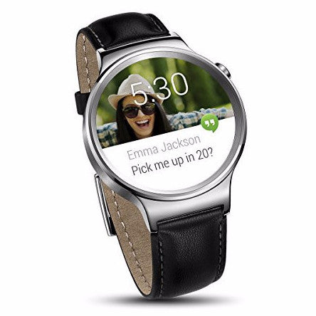 Huawei Watch Stainless Steel with Black Suture Leather Strap (U.S. Warranty) - qwikby