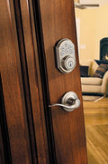 Kwikset 909 SmartCode Electronic Deadbolt featuring SmartKey in Satin Nickel - qwikby