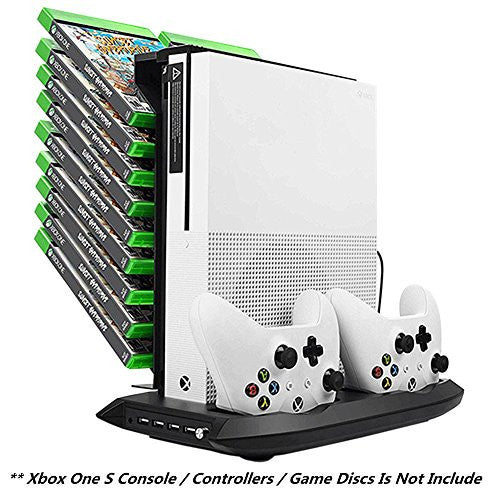 Xbox One S Vertical Stand Cooling Fan Controller Charging Station with Game Storage & Dualshock Charger - qwikby