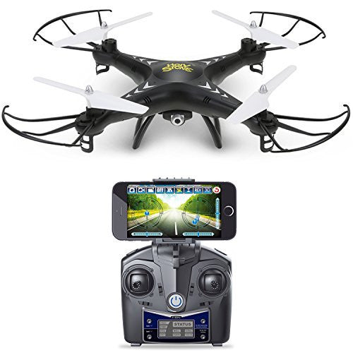 Holy Stone HS110 FPV Drone with 720P HD Live Video WiFi Camera 2.4GHz 4CH 6-Axis Gyro RC Quadcopter with Altitude Hold, Gravity Sensor and Headless Mode Function RTF, Color Black - qwikby