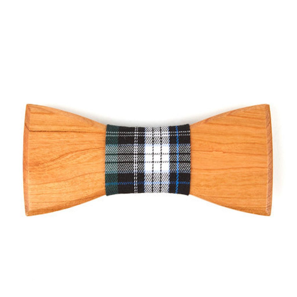 Bamboo Wooden Bowtie // White + Burgundy Plaid