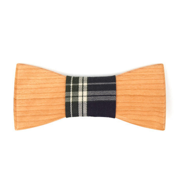 Bamboo Wooden Bowtie // Burgundy + White Plaid