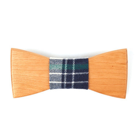 Bamboo Wooden Bowtie // Denim + Navy Plaid