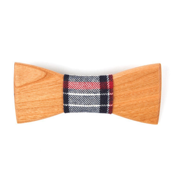 Bamboo Wooden Bowtie // Red + Grey Plaid