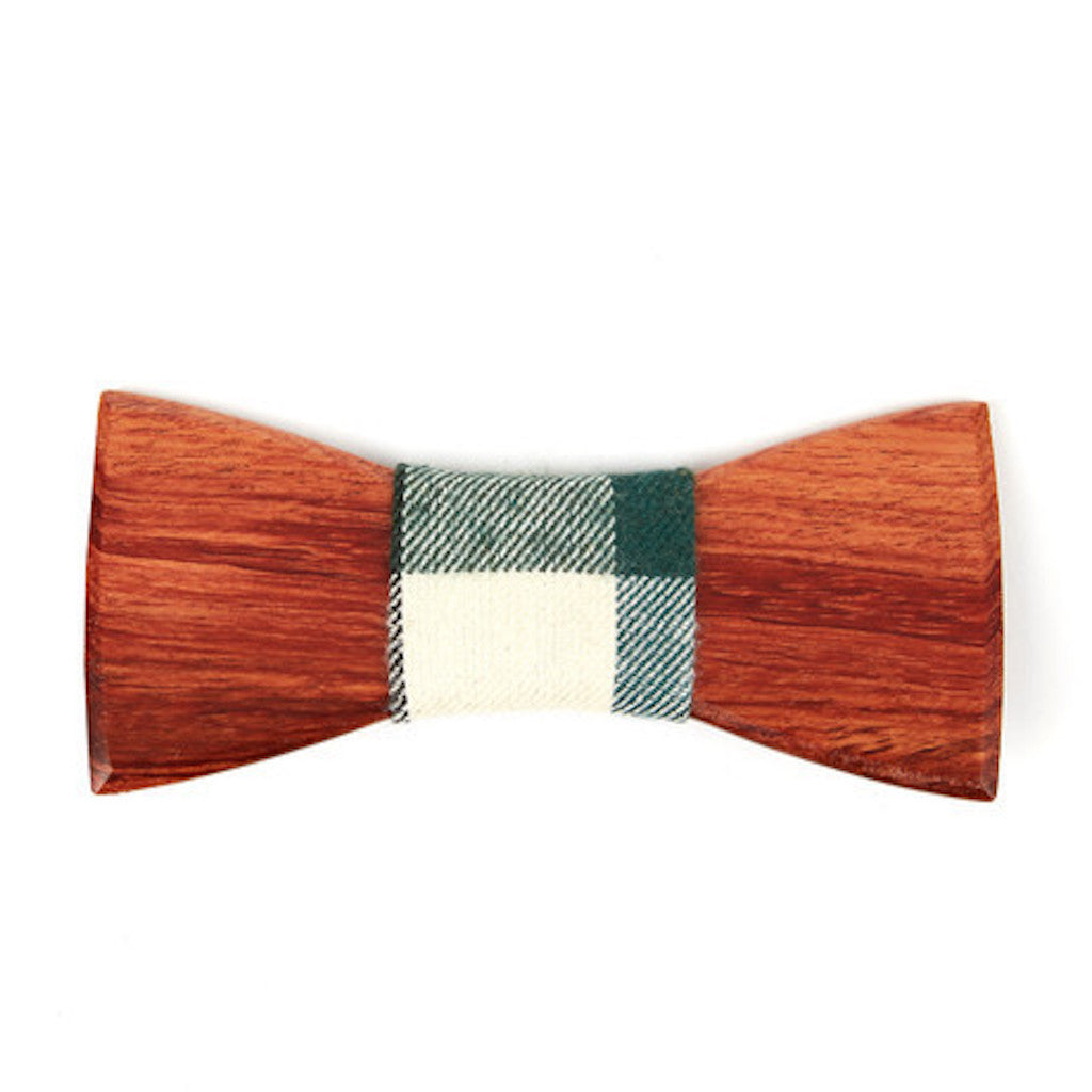 Ebony Wooden Bowtie // Olive + White Plaid