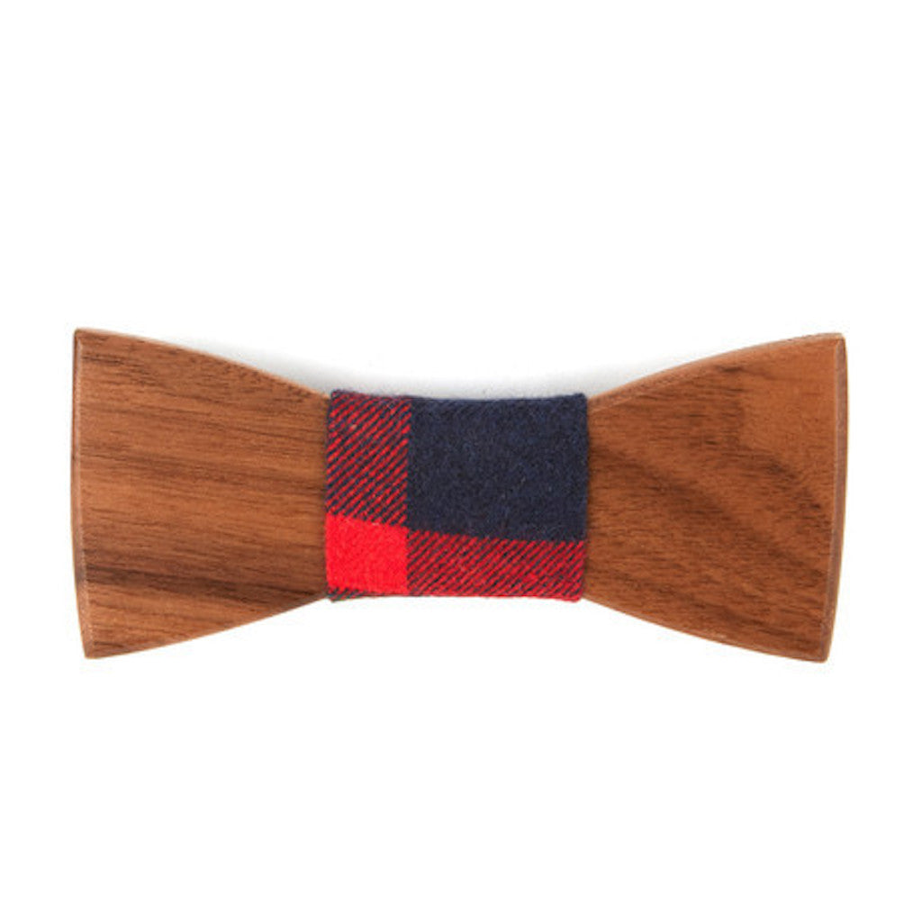 Ebony Wooden Bowtie // Navy + Red Plaid