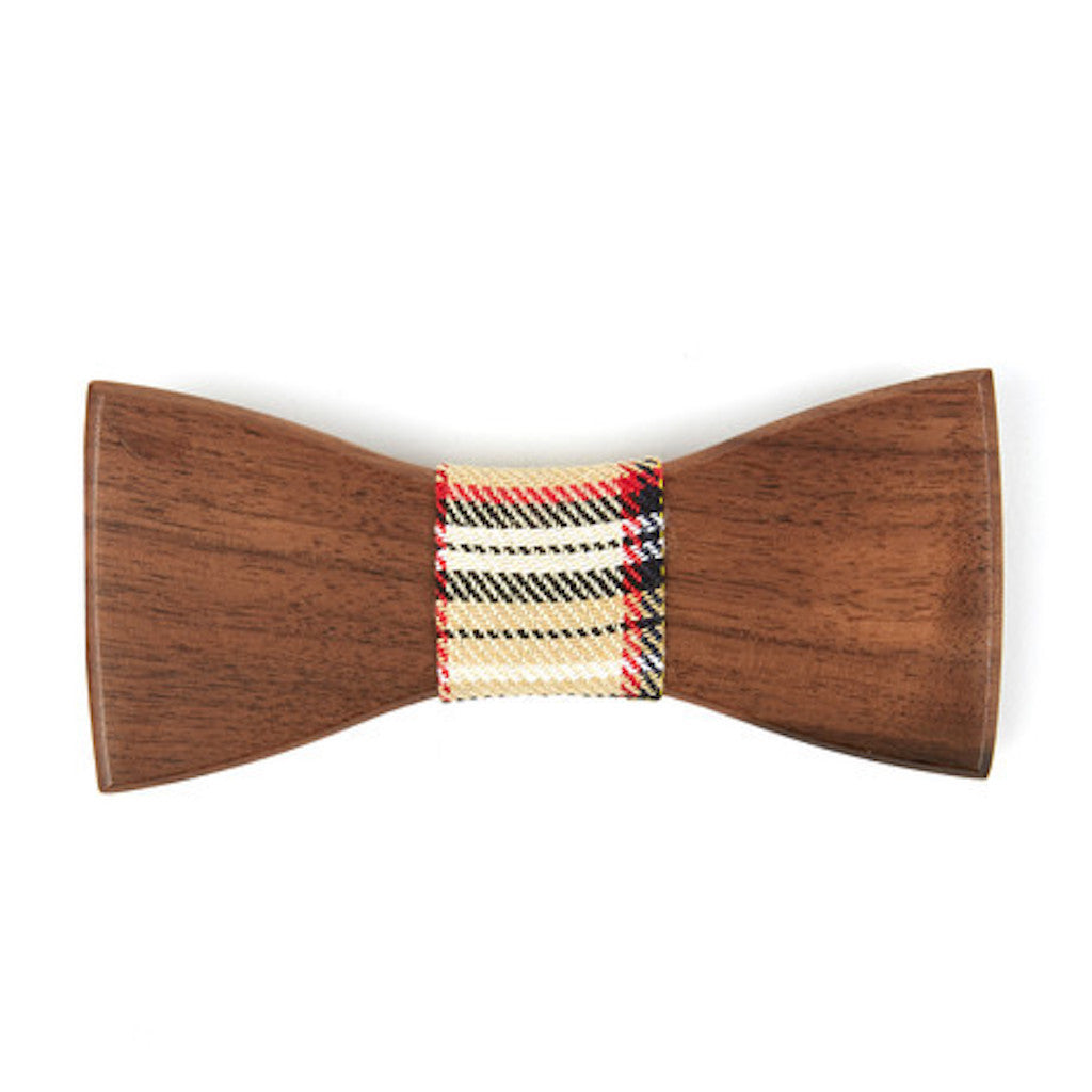Ebony Wooden Bowtie // Brown + Black Plaid